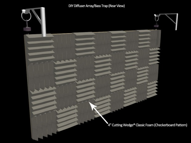 bass trap foam diffuser - rear